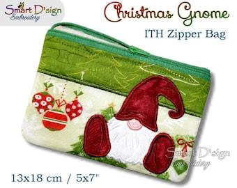 ITH Scandinavian Christmas Gnome Elf 5x7 inch 13x18 cm Zipper Bag In The Hoop Machine Embroidery Design
