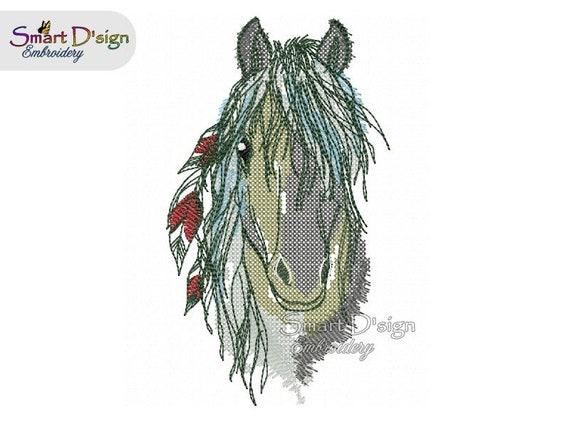 Stickdatei Stickmuster Indianer Pferd Pferdekopf mit Federn | Etsy
