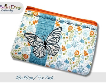 ITH 5x7 inch Quilt Zipper Bag Butterfly Stipple Applique 18x30 cm Cosmetic Bag Digitital Download In the Hoop Machine Embroidery Design