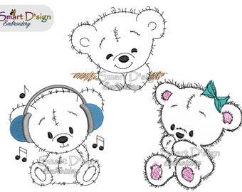 Set 3x TEDDY DOODLE APPLIQUES 4x4 inch | Children Teddy Patches | Cute Bears for Birthday Gift | Machine Embroidery Design Smart D'sign