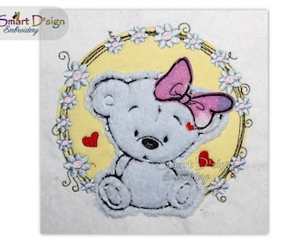 Teddy | Baby Shower Motif, cute gift | Great for Bags & Towels |Raw Edge Doodle Applique 5x5 inch Machine Embroidery Design by Smart D'sign