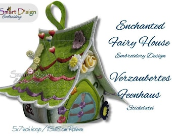 Enchanted Fairy House | Cute little craft project for pin cushion, decoration 13x18 cm or 5x7 inch Machine Embroidery Design by Smart D'sign