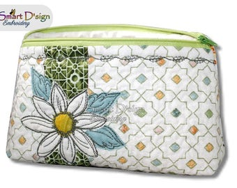 ITH 7x12 inch Quilt Zipper Bag Daisy Applique 18x30 cm Cosmetic Bag Stipple Stitch Digitital Download In the Hoop Machine Embroidery Design