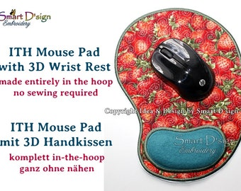Wolds First ITH Mouse Pad with 3D Wrist Rest Cushion| 7x12 inch | Made entirely ITH | Machine Embroidery Design In The Hoop Smart D'sign