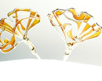 Ginkgo Leaves Earrings. Long Silver Earrings. Fall Fashion. Amber Earrings. Elegant Earrings. Original Earrings. Unique Wire Jewelry.