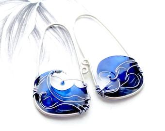 Blue Sea Earrings. Blue Earrings. Sterling Silver Earrings. Waves Earrings. Summer Jewelry. Wire Jewelry. Unique Earrings. Original Jewelry.