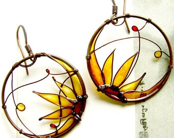 Sunflower Earrings. KUKLAstudio. Round Copper Wire Earrings In Amber. Wire Jewelry. Stained Glass Effect. Unique.