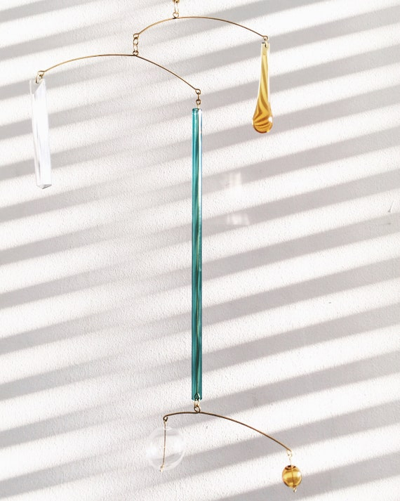 Driftwood Brass Mobile Kinetic Sculpture 011 by KUKLAstudio Art for home. Modern Interior Hanging Metal and Glass Mobile