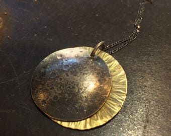 SOLUNA Solar Eclipse Necklace Sterling and Gold filled Totality by ink jewelry