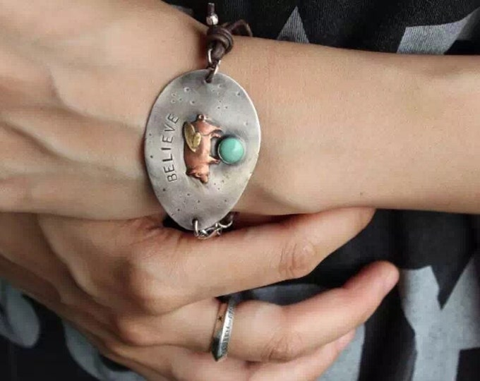 Featured listing image: BELIEVE - RECYCLED SPOON Bracelet in Solid  Sterling Silver and Turquoise