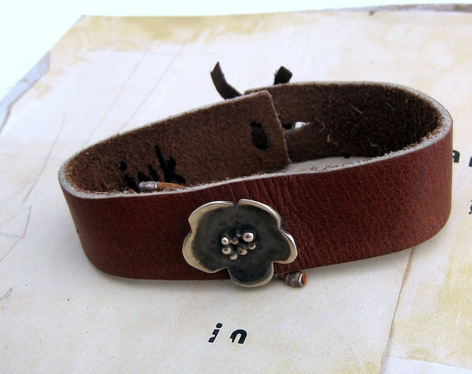 Featured listing image: Leather Flower Wrist Wrap Bracelet