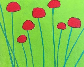 Original wall art painting, flowers, lime green, red, billyball