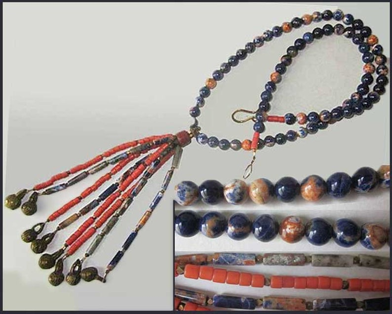 Big Coral and Sodalite Tassel Vintage JewelryWomen With BELLS On Long Necklace Boho Tassel Necklace Orange and Blue Sodalite Necklace