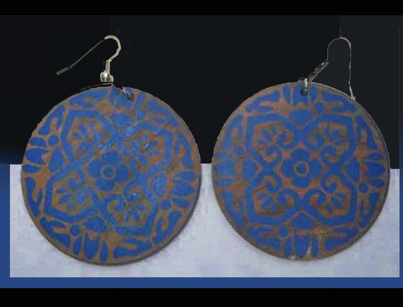 STENCIL It In, Big Wood Dangle Earrings, Blue Stencil Design, Indian Block  Print Style, Boho Dangles, Ethnic Style, Vintage Jewelry/Women