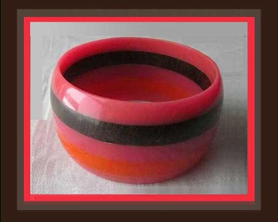 Hot LAMINATION, Wide Stripes Bangle, Hot Orange a… - image 1