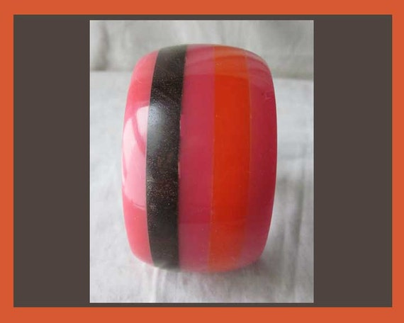 Hot LAMINATION, Wide Stripes Bangle, Hot Orange a… - image 3