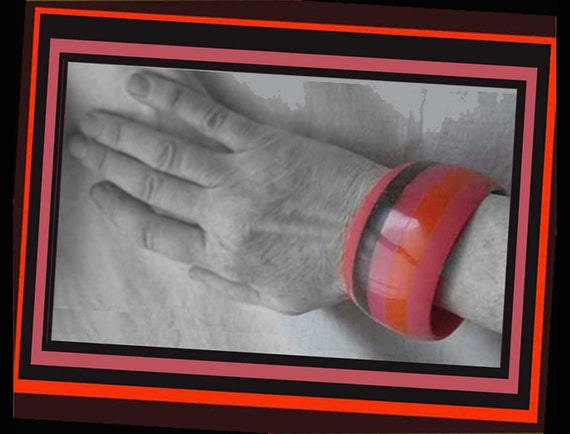 Hot LAMINATION, Wide Stripes Bangle, Hot Orange a… - image 2