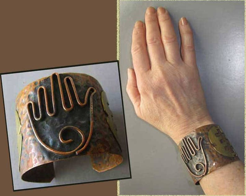 Vintage Jewelry,WomenUnisex Hammered Copper Ancient Anti Evil Eye Protection Applied Symbols HAMSA Bracelet Mixed Metals Hand Symbol