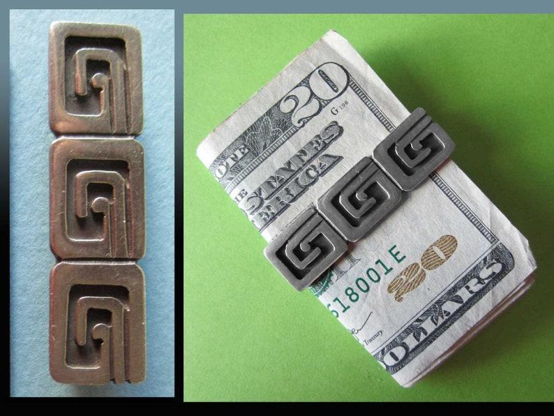 MenUnisex Taxco Mexico Greek Key Design Sterling Silver Money Clip Jos\u00e9 Luis Flores for M G Martinez Vintage Jewelry Show me the MONEY