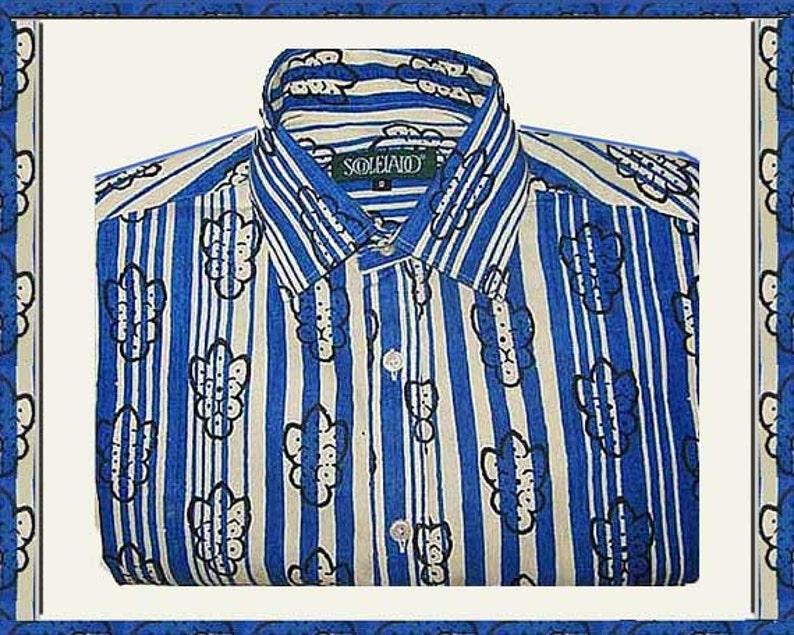 check out 90916 37715 Provenzale BLUES, Souleiado zebrato blocco stampa camicia, Made in France,  Hipster 70s stile Slim Fit, nero/Denim blu/crema, moda Vintage, uomini