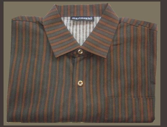 Marimekko Jokapoika Mens Striped Shirt, Warm Brown