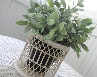Vintage Wicker Basket Planter * Shabby Cottage White * Farmhouse Decor