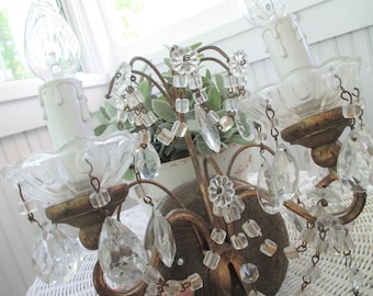 Vintage Sconce * Macaroni Beads * Tole * Chandelier Crystals * Faux Drip Candle Sleeves