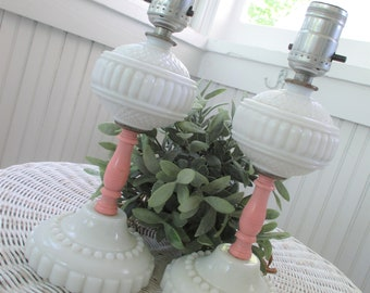 Pair of Vintage Milk Glass Hobnail Lamps  * Pink * Shabby Chic * Cottage * Nursery