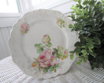 Vintage Bread and Butter Plates * Made In Germany * Shabby Pink Roses