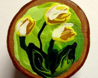 Magnet Hand-painted Art Yellow Tulips