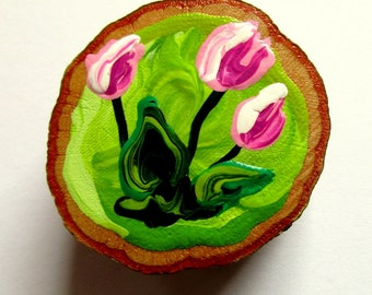 Magnet Hand-painted Art Pink Tulips
