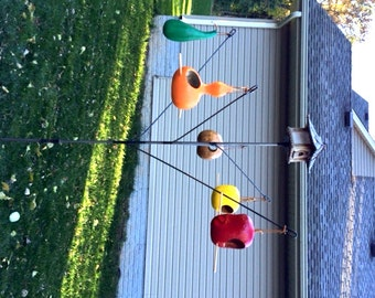 Backyard garden Bird-feeder Hanger Birdhouse (Bottle tree style) Made in USA -- New Item !!