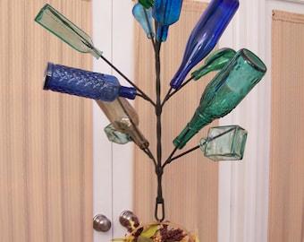 Hanging Wine BOTTLE TREE - Yard, Garden, or Porch - Holds 12 Bottles