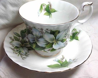 Royal Albert Teacup & Saucer Trillium Spring White Floral, Green Leaves, Bone China England, Vintage Gift for Mom - Ships to USA for 8.98
