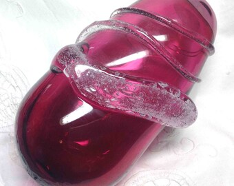 Cranberry Glass Vase Vintage Art Glass Mid Century Modern MCM Abstract Stunning Deep Pink &Applied Strands, Gift for Her! Ships to US 18.50