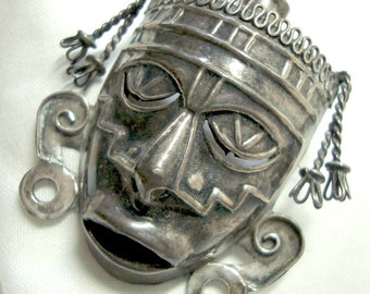 Mexican Brooch Sterling Silver Face Mask, Vintage Fierce Tribal .925 Pin Mexico Boho Ethnic 1950s MCM Modern Pendant, Ships to US for 9.00