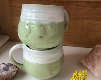 Handmade Ceramic Mug - Coffee Mug - Tea Mug - Green Moon Phases