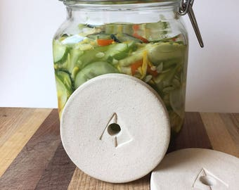 """X-Large Ceramic Fermentation Weight - Pickling Weight for Fido Style Jars - Mason Jar Weight - 3"""""""