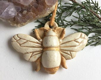 Ceramic Bee Ornament - Ceramic Honeybee - Honeybee Ornament