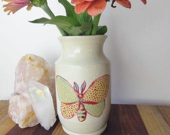 Handmade Ceramic Bud Vase - Small Flower Vase - Butterfly Bud Vase