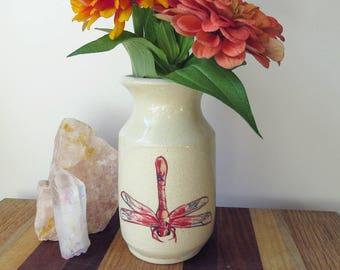 Handmade Ceramic Bud Vase - Small Flower Vase - Red Dragonfly Bud Vase
