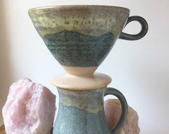 Ceramic Pourover Set - Coffee Pourover - Drip Coffee Pour Over Set with Coffee Mug - Coffee Maker - Blue