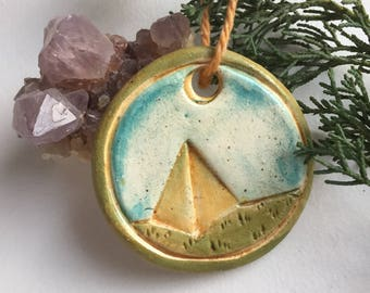 Ceramic Nature Ornament - Camping Ornament - Winter Solstice - Yule Ornament