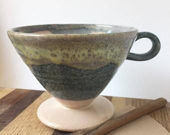 Handmade Ceramic Pourover - Coffee Pourover Cone - Drip Coffee Pour Over - Blue