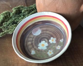 Ceramic Pie Pan with Moonflowers - Baking Dish - Deep Dish Pie - Pie Dish - Pie Plate