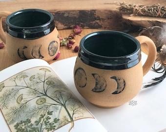 Handmade Ceramic Mug - Brown and Black Moon Mug