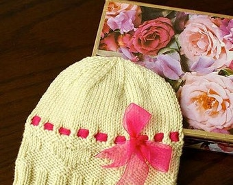 Hearts and Bows Baby Hat