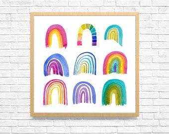 RAINBOW WALL ART, Abstract Art Print, Handmade Painting, Kids Room Art, Watercolor Painting, Rainbow Wall Decal, Stripe Artwork
