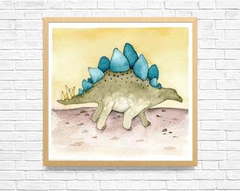 DINOSAUR WALL ART, Abstract Art Print, Handmade Painting, Kids Room Art, Watercolor Painting, Dinosaur Wall Decal, Animal Artwork
