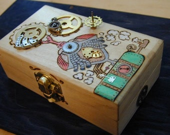 Steampunk Jewelry Box wood burned with gears,Airship,Victorian International Shipping